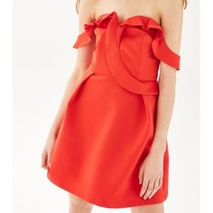 NWOT // Topshop Ruffle Bardot Mini Dress